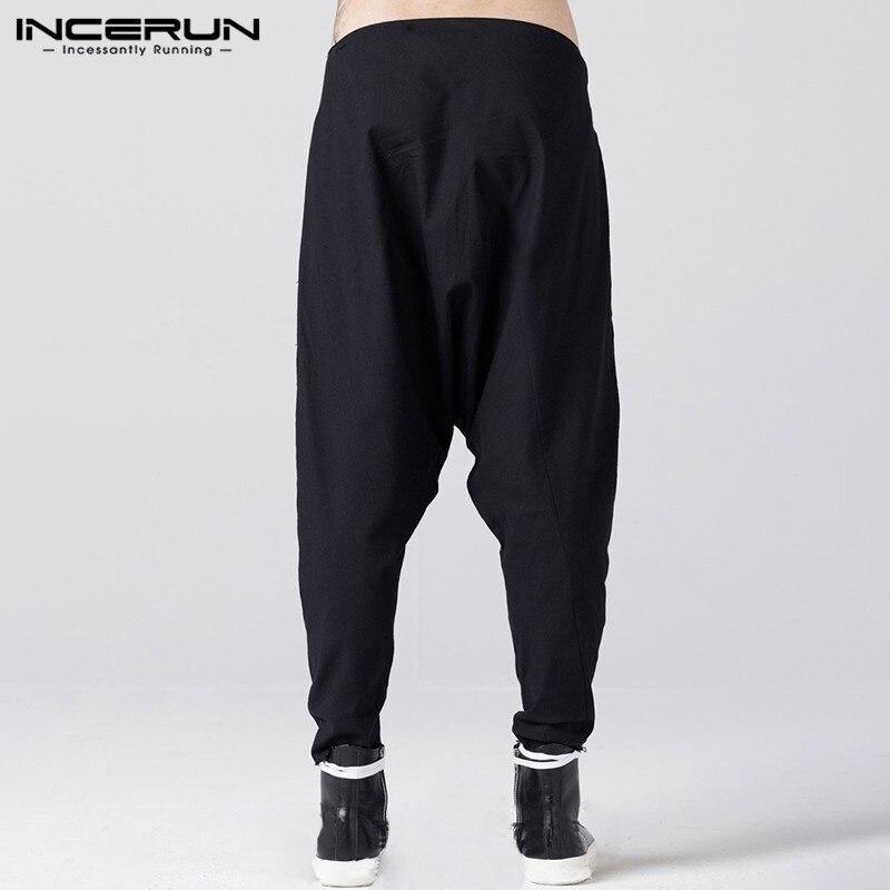 INCERUN Spring Mens Harem Joggers Pants Solid Cargo Pants Men Gothic Sweatpants Male Buttons Trousers Black Men Streetwear 5XL