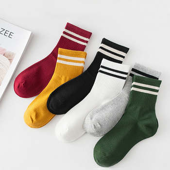 Funny Cute Cotton Loose Striped Crew Socks Women Fashion Colorful Harajuku Designer Retro Long Socks New Year Christmas Gifts image