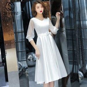 Prom Dresses Tea Length Skyyue ER204 Elegent Little White V-neck Vestidos De Fiesta A Line Three Quarter Sleeve Party Gowns