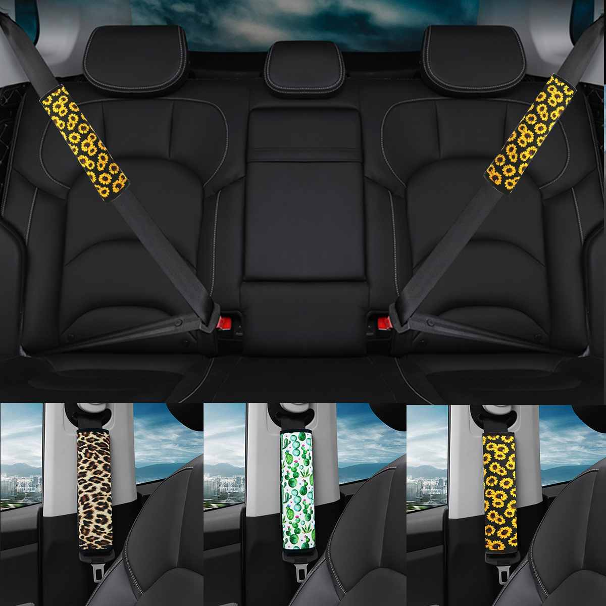 Sunflower Seat Belt Covers Neoprene Car Shoulder Pad Car Truck SUV Airplane Auto Seat Belt Backpack Straps for Adults Youth Kids image