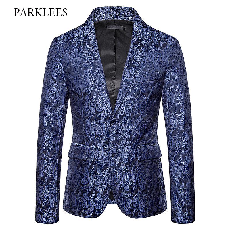British Style Paisley Jacquard Blazer Men 2019 New Single Breasted Mens Suit Jacket Formal Prom Club Party Chaqueta Traje Hombre