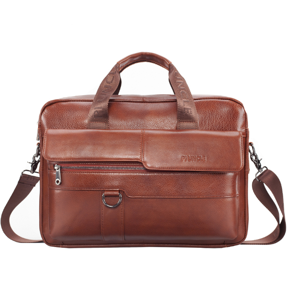 Men Leather Bag High Quality Business Briefcase Fashion Brand Leather Laptop Bags Male Shoulder Computer Bags Leather Briefcases
