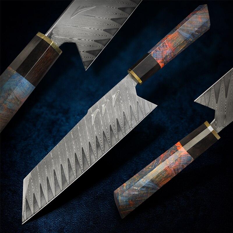 FZIZUO Damascus Steel Santoku Knife Handmade Japanese Tanto Chef Knife with Sheath 8inch Bunka Knife Vegetable Slicing Knives