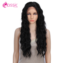 Classic Plus Wavy Lace Front Hair Wigs 28 Inch Loose Wave Natural Hair Wig For Black Women Heat Resistant Ombre Blonde Red Wigs цена 2017