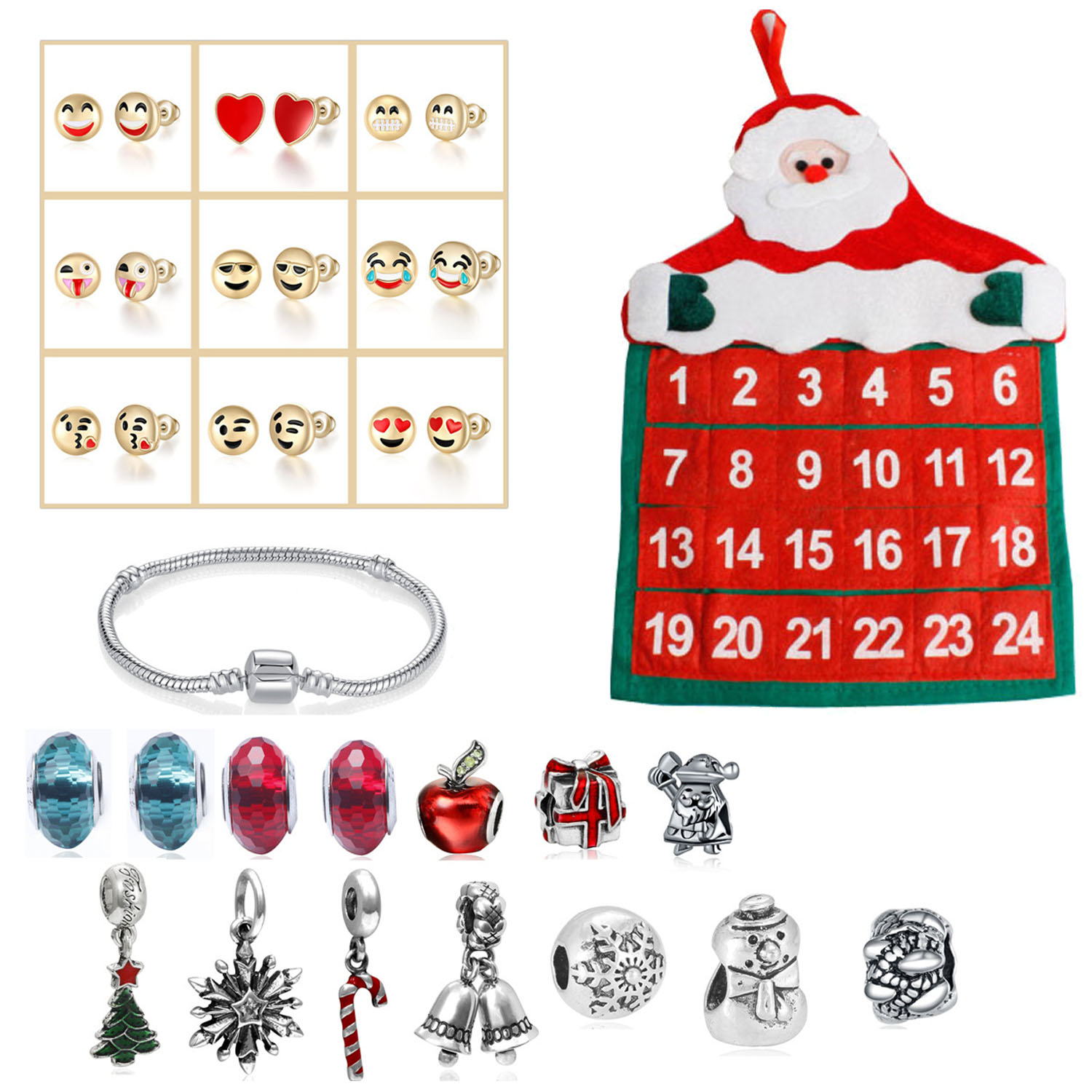 Cute Christmas Craft Pockets Santa Claus Advent Calendar DIY 24 Days Charms Bracelet Beads Ear Studs Set Kids Girl Xmas Gifts