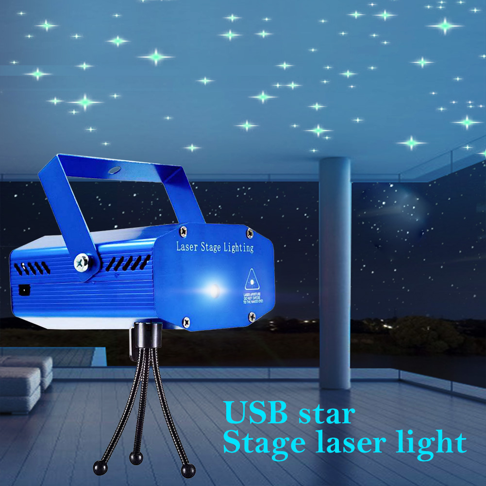 Star LED Laser Projector Light USB Powered Disco Stage Light Dance Party Lighting Projection Pointer Lamp for Home Party KTV DJ