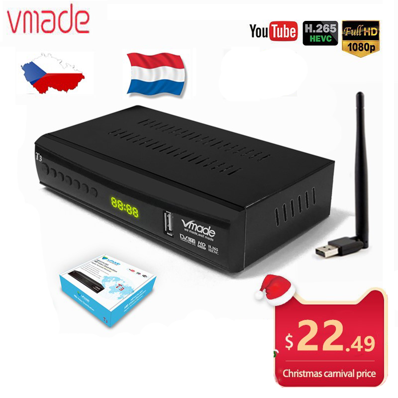Hot Sale Czech Republic DVB-T2 T3 Terrestrial TV Decoder Support YouTube HD1080p DVB T2 Dolby AC3 HEVC H.265 TV Digital Receiver