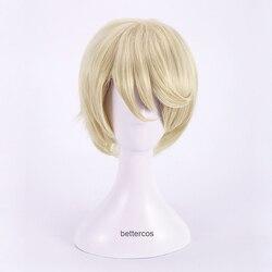 Preto butler alois trancy peruca cosplay curto loira resistente ao calor peruca de cabelo sintético + peruca boné