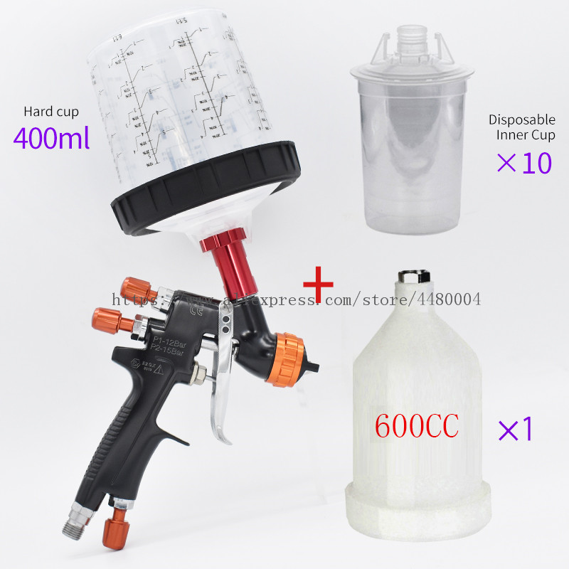 Tools : HVLP spray gun gravity spray gun 1 3mm 600CC cup manual spray gun with spray gun accessories