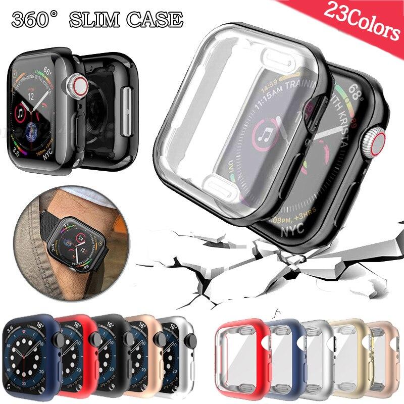 Чехол для часов чехол для Apple Watch серии 6 5 4 3 2 1 чехол 42 мм, 38 мм, 40 мм 44 мм задняя крышка из ТПУ чехол Экран протектор для наручных часов iWatch, 6 5 4 44...