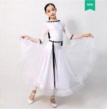 Standard Ballroom Dance Dresses Children White Long Sleeve Waltz Competition Dancing Skirt Girls Classical Dance Dress