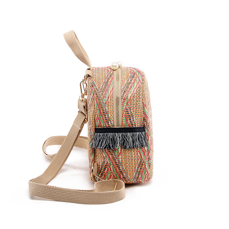 Straw Zipper Bohemia School Bags for Teenage Girls Woven Small Backpack Summer Mini Backpack Women Female Mochila Mujer 2019 in Backpacks from Luggage Bags