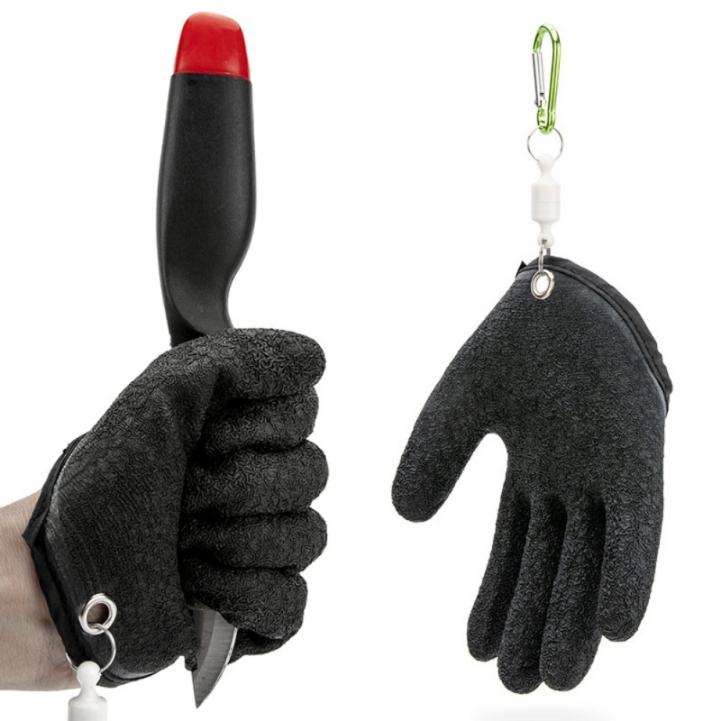 1pc Fisherman Professional Fishing Glove With Magnet Release Catch Cut Puncture Resistant Anti-slip Latex Magnetic Hunting