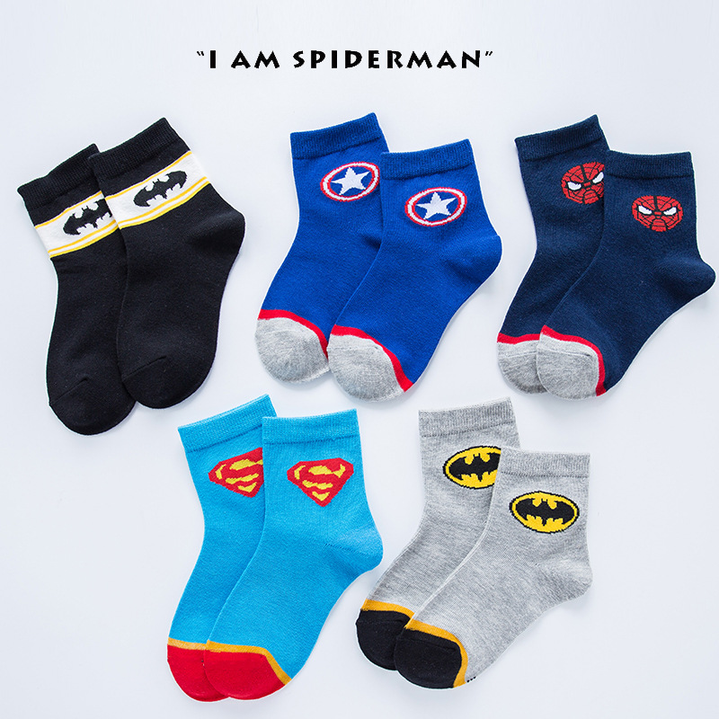 2 To 12 Year Kids Socks 1 Pair Autumn/winter Cotton Socks Super Hero Boys Kids Breathable  Socks Childen Girls Cartoon Socks