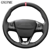 Черные чехол рулевого колеса автомобиля воланы для Ford Focus 4 2019 2020 Fiesta 17-19 Tourneo 2018 2019 New Focus