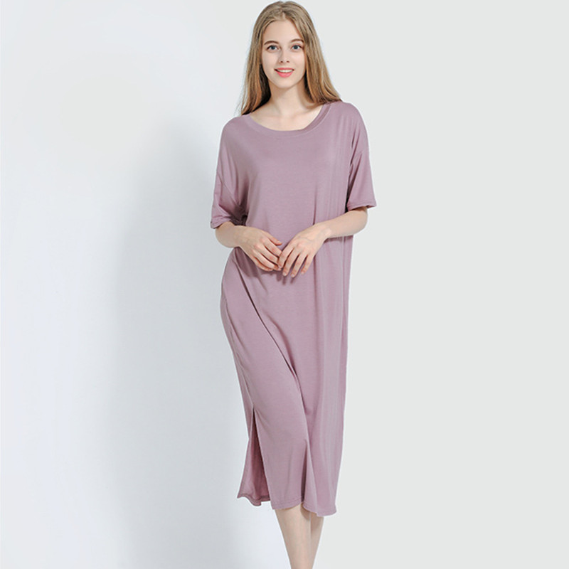 Plus size Fashion Summer Night Dress Women Nightgowns Sleepwear Women's Sleepshirts Modal Cotton Candy Color Ladies Nightwear