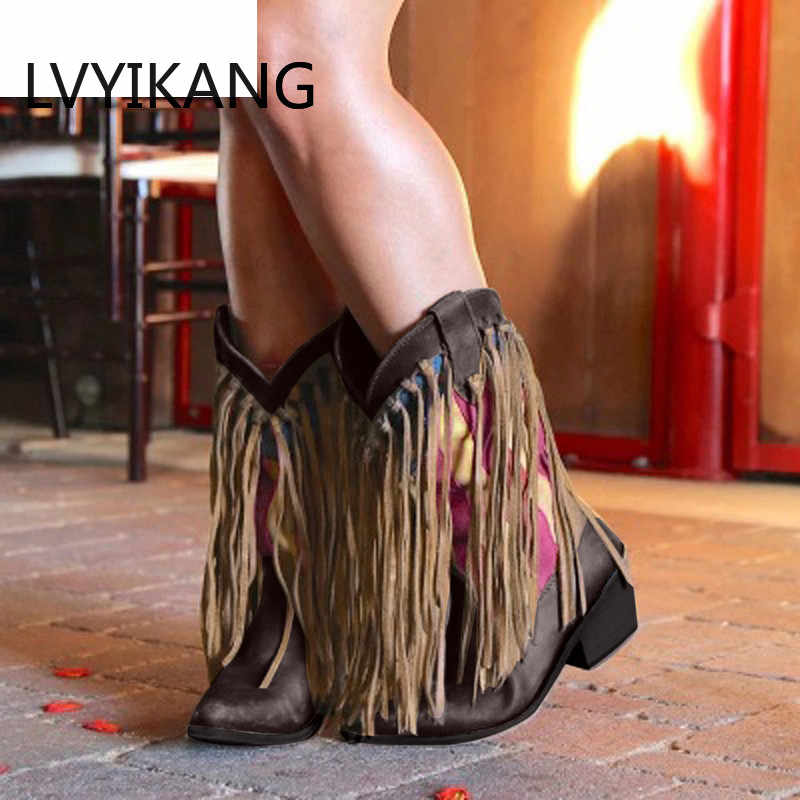 Long Tassel Knight Boots Women Western Boot Winter Ethnic High Heel Casual Shoes Lady Stylish Retro Fringe Pointed Boot Cowboy