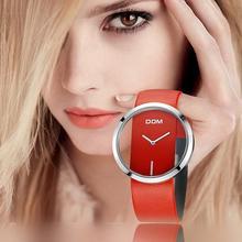 Izle kadınlar lüks moda Casual 30 m su geçirmez kuvars saatler hakiki deri kayış spor bayanlar zarif kol saati kız DOM