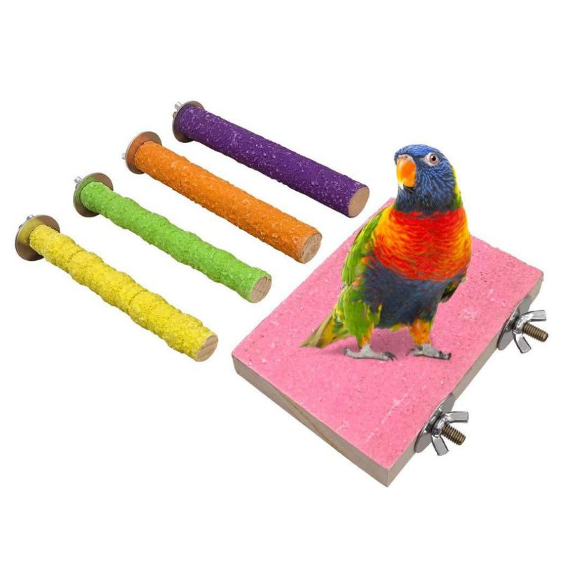 5Pcs Bird Perch Wooden Stand Parrot Toys Leg Claw Beak Grinding Support Bar Foot Stick Platform Cage Decoration for Budgerigars