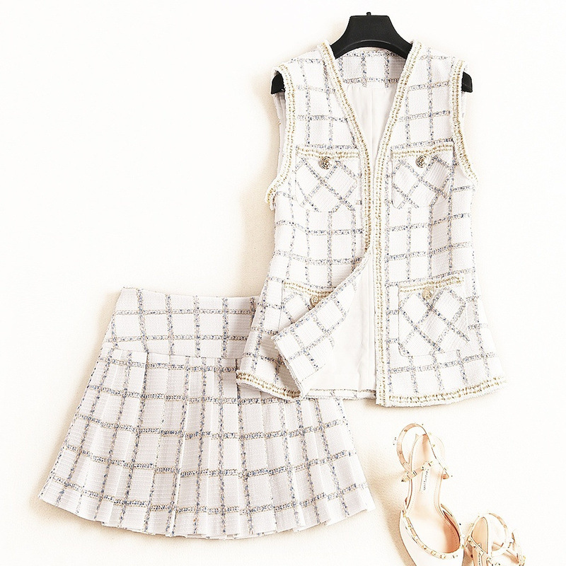 [LiCoO] Small Fragrant? WOMEN'S Suit 2019 Early Autumn Fashion Pattern Waistcoat Short Skirt Two-Piece 12540