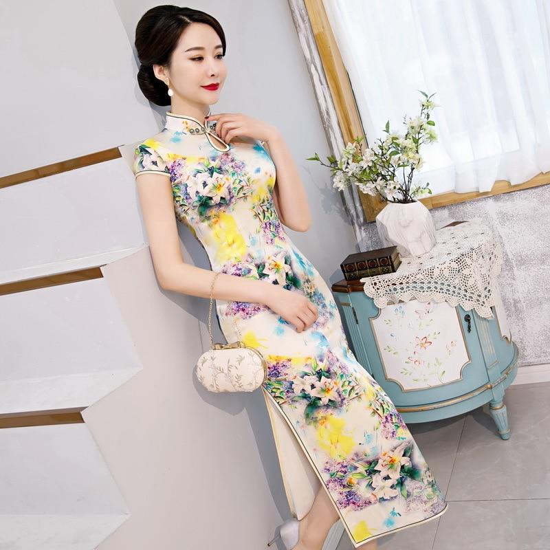 The New Modified Mulberry Silk Silk Cheongsam Cheongsam Skirt Long Chinese Daily Chinese Wind Restoring Ancient Ways