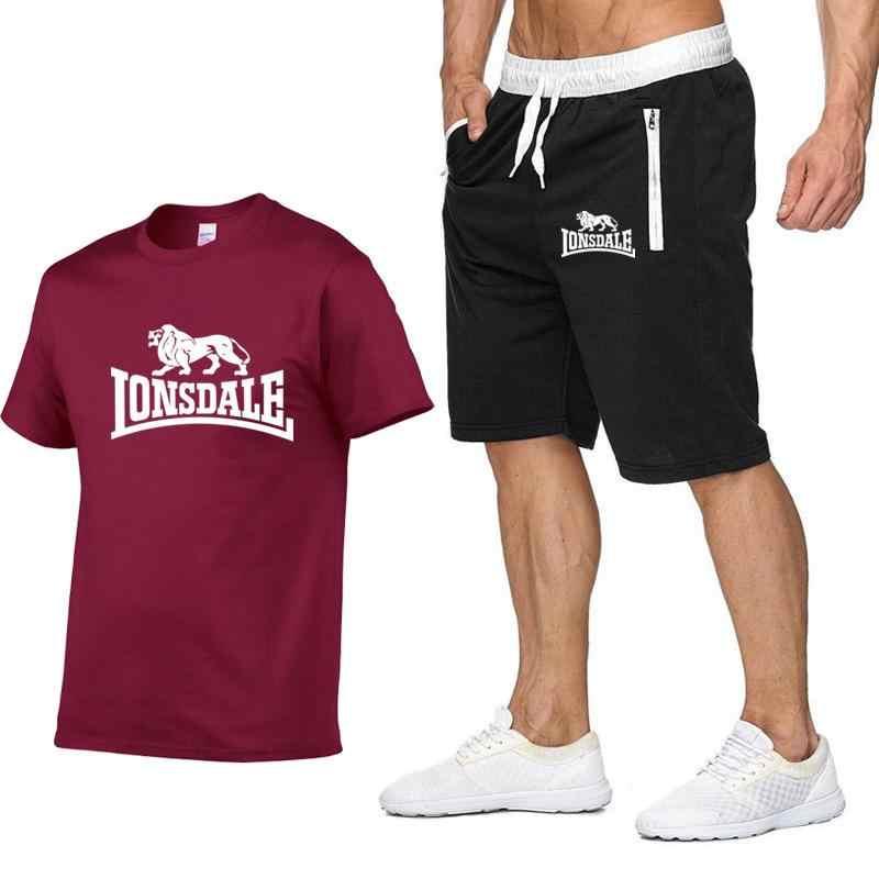 Mannen Zomer Lonsdale Sportkleding Sets Korte Mouw T-shirts + Korte Broek Nieuwe Mode Mannen Casual Sets Shorts + T-shirts 2 stukken