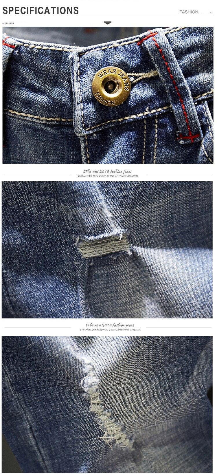 KSTUN Biker Jeans Men Ripped Slim Fit Light Blue Stretch Fashion 2020 Streetwear Frayed Hip Hop Distressed Denim Jeans Pants Man 12