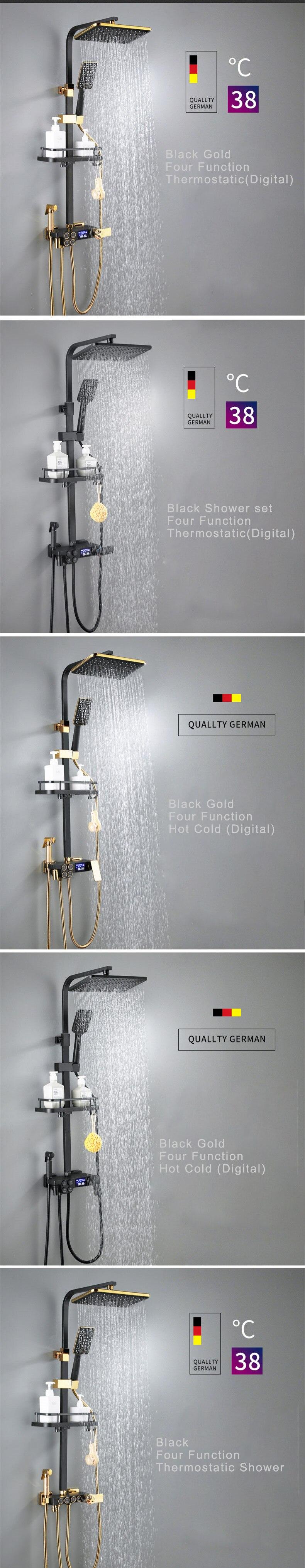 H8d0daf514a734cd8a1aba8876991c67dD Digital Shower Set Matte Black Batroom Faucet Hot Cold Bath Shower System Copper Bath Bidet Luxury Black Thermostatic Shower Set
