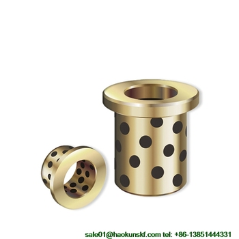 JFB304025 / 3025F (Size:30*40*25/50*5mm) Flanged Solid-Lubricanting Oilless Graphite Brass Bushing|Copper Bearing JFB3025