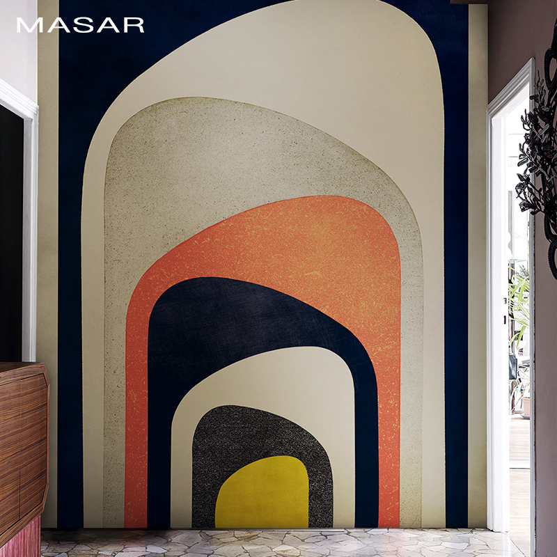 MASAR Creative Personality Color Fresco Abstract Door Hole Living Room Corridor Background Wall Wallpaper Waterproof Magic