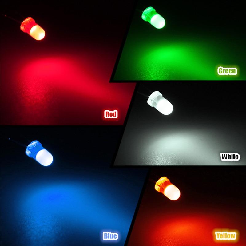 Image 5 - 100 pçs led emitindo diodos kit de luz 3mm 5 cores redondas  superior difuso branco amarelo vermelho azul verde variedade kit para  iluminação diyLâmpadas LED e tubos