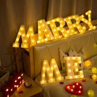 Luces luminosas LED de 16/22CM para manualidades, luz nocturna con letras originales del alfabeto y número de batería, lámpara para decoración de fiesta romántica