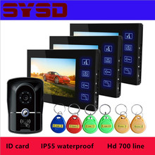 Прямая с фабрики ультра-тонкая синяя кнопка IP55 Водонепроницаемый 7 дюймов HD видео-дверной звонок