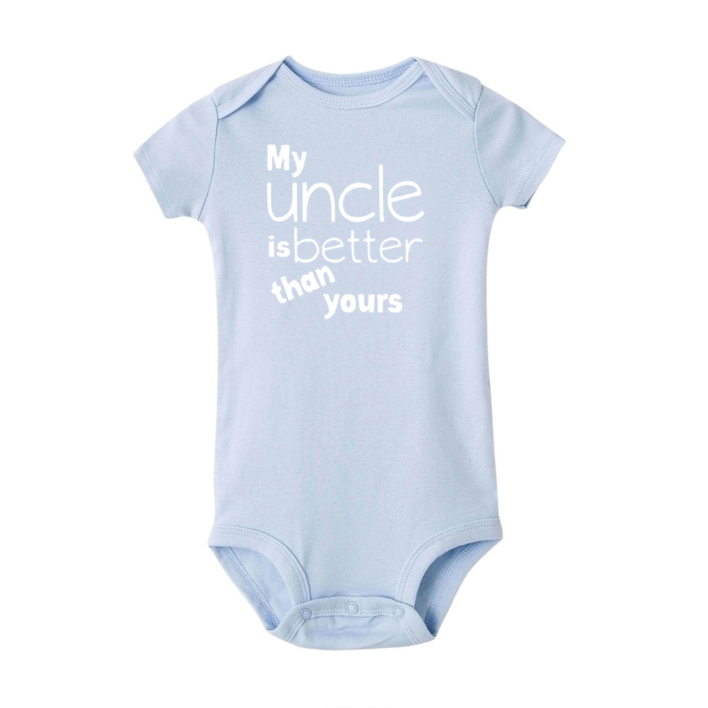 Newborn Baby Romper My Uncle Is Better Than Yours Print Funny Infant Short Sleeve Jumpsuit Toddler Unisex Cute Playsuit | Happy Baby Mama