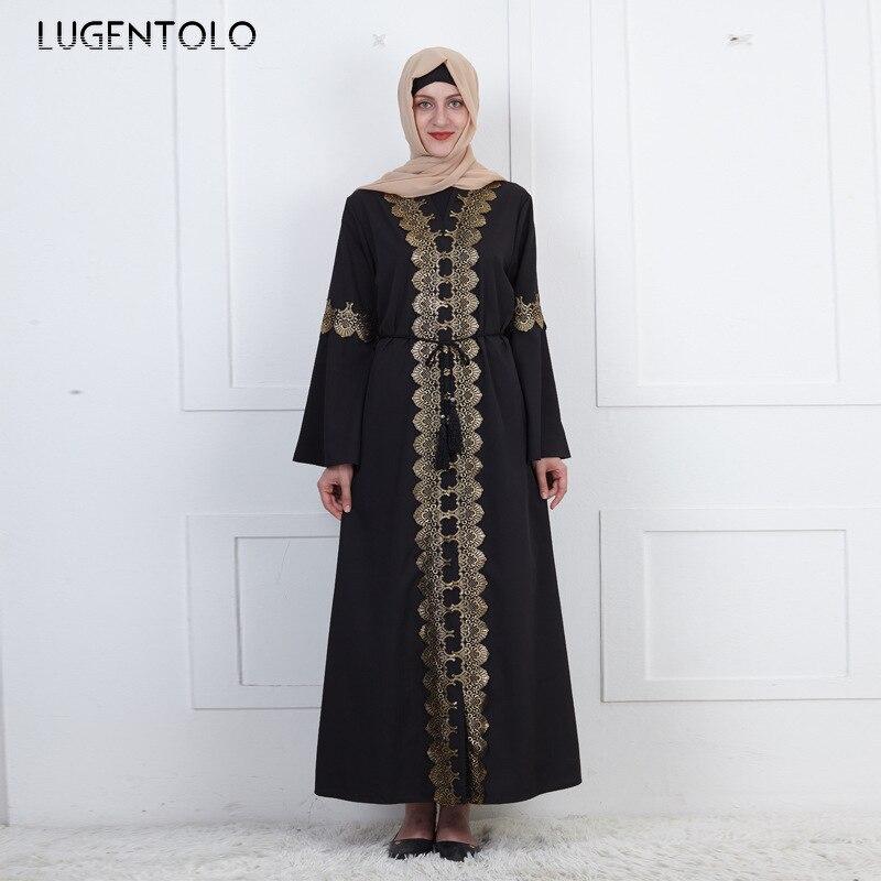 Lugentolo Fashion Muslim Women Vintage Dress Embroidered Loose Bell Sleeve Black Cardigan Big Swing Abaya Lady Maxi Dresses