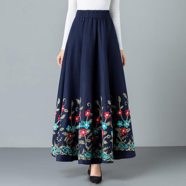 Mom elegant Embroidered Maxi pleated skirt Women Plus Size Winter Warm Woolen Long Skirt Lady High Waist Casual Wool Office saia 3