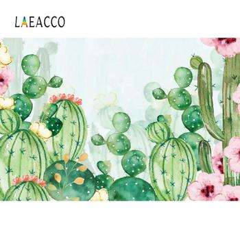Laeacco Photography Backgrounds For Photography Cactus Watercolor Wallpaper Party Decor Photographic Backdrop For Photo Studio laeacco unicorn words baby children comic celebration party scene photographic backgrounds photography backdrop for photo studio
