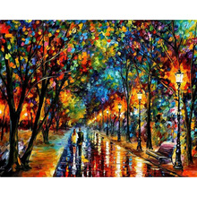 GATYZTORY DIY Painting By Numbers Romantic Street View Oil Landscape HandPainted Acrylic Home Decoration