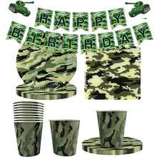 Army Camouflage Tableware Green Balloons Military Theme Paper Plate Cup Napkin Kids Boys Birthday Party Decorations Supplies