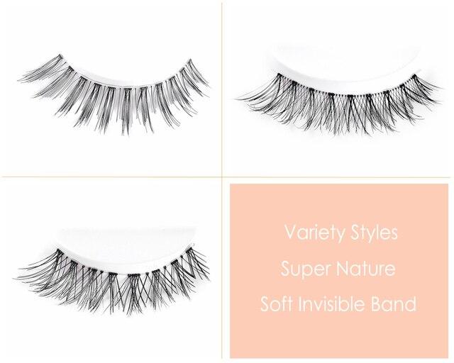 CLOTHOBEAUTY 5 Pairs False Eyelashes, Fake EyeLashes Extension Handmade Natural Soft Invisible Band,Long Thick Reusable Makeup 2