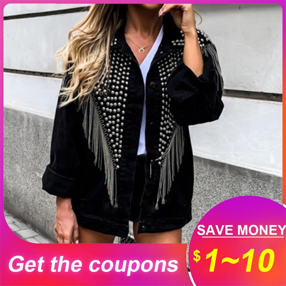 Veste femme hauts automne hiver ample noir Cool veste zippée Rock Punk Style 2019 mode gland Rivet à manches longues vestes