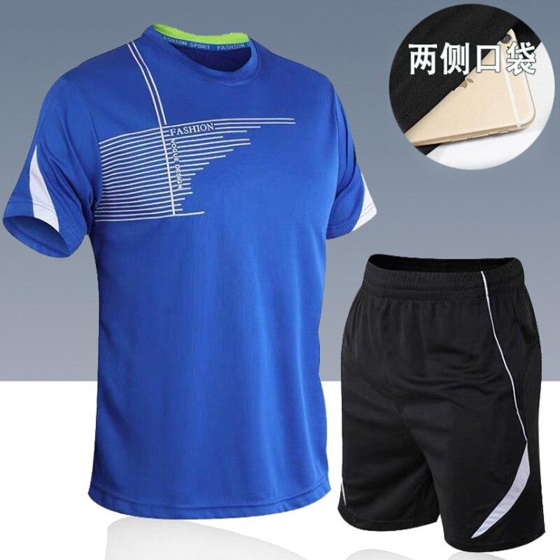 men's set  sportswear kit short sleeve sports sport shirt men running 2pcs suit for soccer gym fitness men t-shirts+shorts sets 4