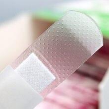 100 unidades/pacote kit de primeiros socorros transparente ferida adesivo emplastro médico anti-bactérias faixa ataduras etiqueta viagem em casa
