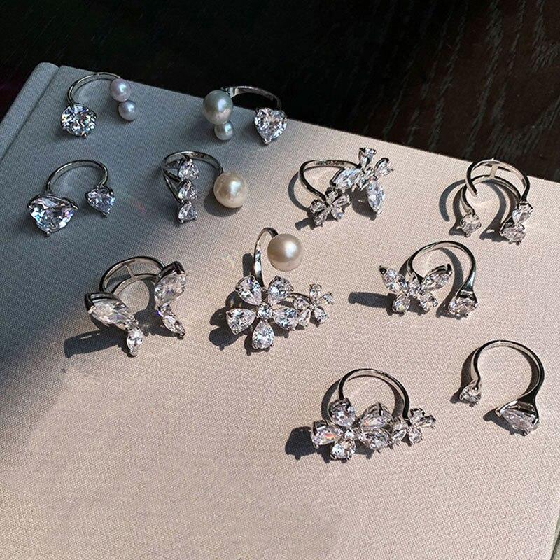 Женское кольцо с бабочками HUANZHI, элегантное романтическое кольцо из Капелек с цирконием и жемчугом, вечерние ювелирные изделия, 2020