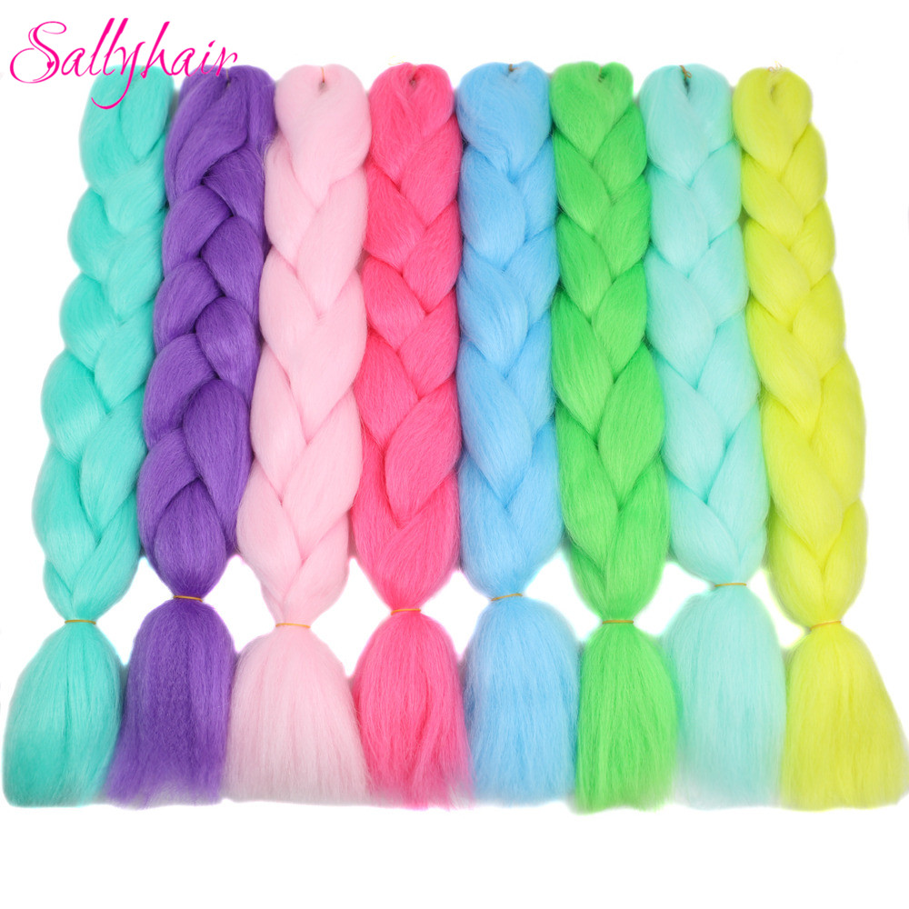 luminous glowing Synthetic Braiding Hair Extensions Braid Bulk Hair Extension (4)_副本