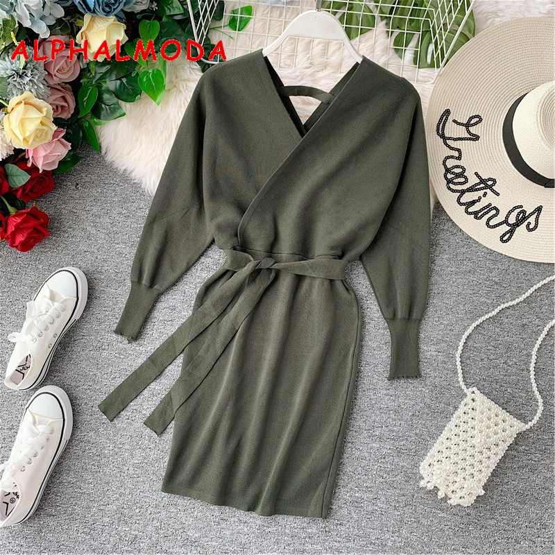 ALPHALMODA Bat Sleeve Low Collar Deep V Long Sleeve Dress Waistband Slim Fit Knitted Wrap Hip Sweater Dress In Autumn And Winter