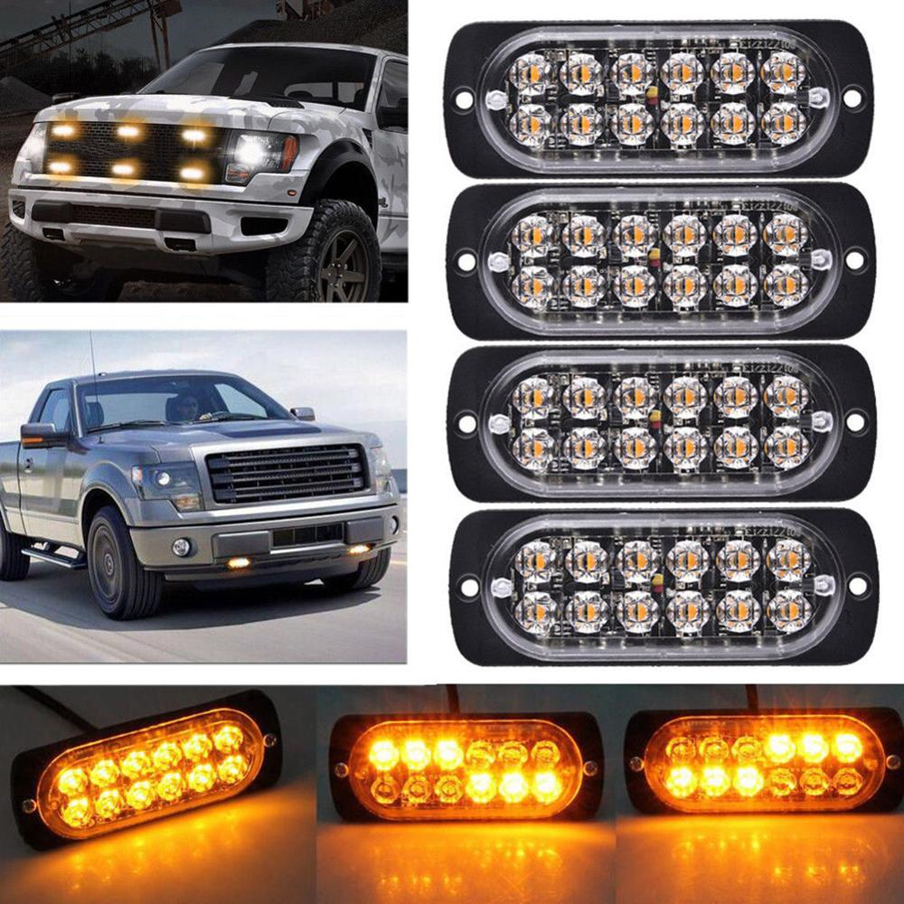 4PCS DC12-24V 36W Yellow 12 LED Car Truck Motorcycle Emergency Beacon Warning Hazard Flash Strobe Underbody Turn Light Bar