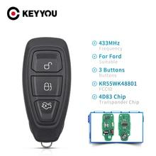 Ключ KEYYOU 434/433 МГц 4D83, чип KR55WK48801, 3 кнопки, ключ дистанционного управления для Ford Focus C Max Mondeo Kuga Fiesta B Max