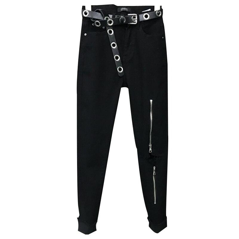 2019 nouveau automne noir jeans femmes taille haute cheville longueur trou skinny crayon jeans grande taille