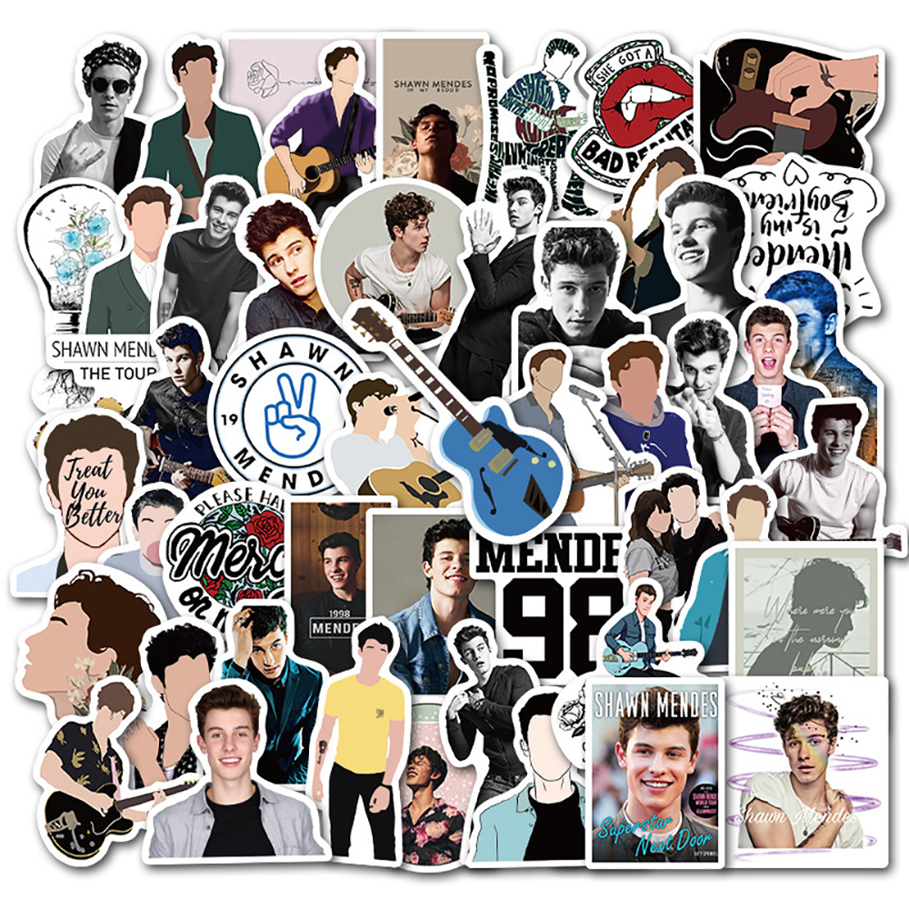 50PCS Shawn Mendes Singer Stickers Skateboard Fridge Guitar Laptop Motorcycle Travel Luggage DIY Waterproof Cool Decal Stickers